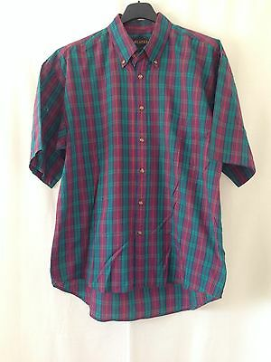 R1. green red checked men's VINTAGE RETRO casual short sleeve shirt size Large
