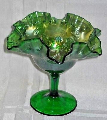 "GREEN CARNIVAL GLASS RUFFLED COMPOTE with embossed design about 5 1/2""  #1100"