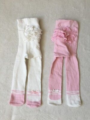 ***BNWT Next baby girls Pink Ballet Frilly tights 2 pack set 6-9-12 months***