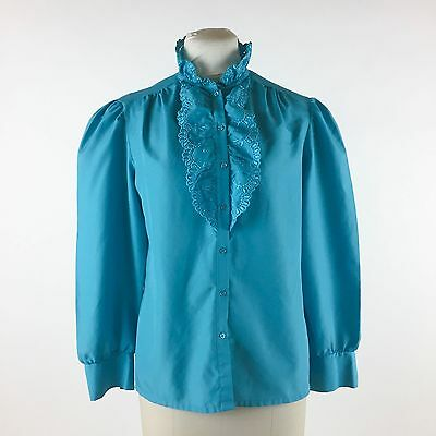 Vintage Blue Blouse High Ruffle Collar Eyelet Lace Trim Polyester Button Down