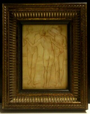 Old Italian Master Drawing Three graces from Italian collection Signed