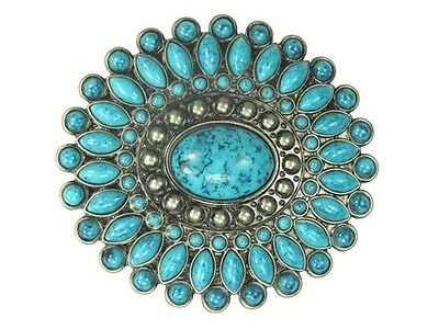 Oval Turquoise Stone Western Belt Buckle