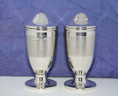 TRUE ART DECO SOLID SILVER SALT & PEPPER by JOSEPH GLOSTER~B'HAM 1937/38