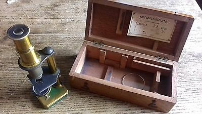 Antique French Brass Field Microscope - complete with original wooden box