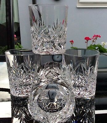 Beautiful Set Of 4 Hand Cut Crystal Whisky Glasses,With Concave Bottom.