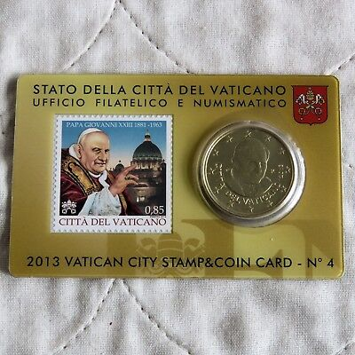 VATICAN CITY 2013 BRILLIANT UNCIRCULATED 50 CENTS - sealed coin & stamp pack 4