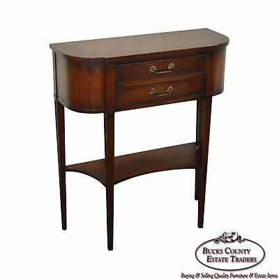 Quality Mahogany Small Demilune Console Table circa 1950s