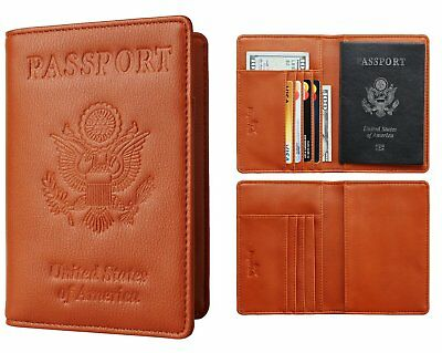 Leather Passport Holder Travel Wallet Cover Card Case Protector Vintage coffe
