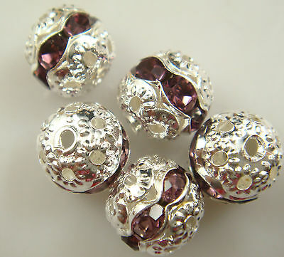 8mm 5pcs Czech champagne Crystal Rhinestone Silver Rondelle Spacer Beads s1hs