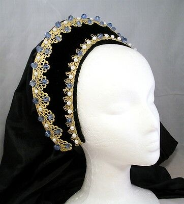 Lady Maria French Hood for Renaissance Tudor Medieval Dress Gown Headpiece Blue