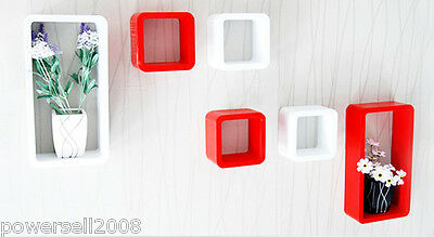 Modern Minimalist Creative Fiberboard 6 Sets White+Red  Frame Wall Decoration