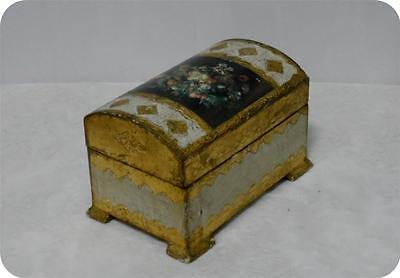 Vtg Florentine Italian Domed Footed Wood Gold Gilt/White/Flower Tole Jewelry Box