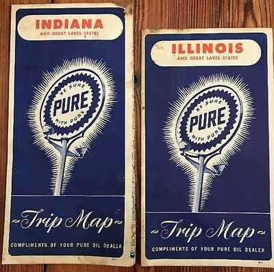 1948 Pure Oil Indiana & Illinois Vintage Road Map / Nice Cover Graphics !!