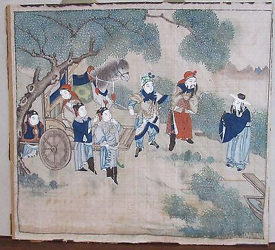 FINE OLD Pair Chinese Paintings over Silk 19th Century Childs
