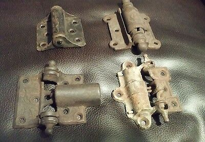 Lot of 4 Antique Screen Door Hinges Ornate 4 Styles