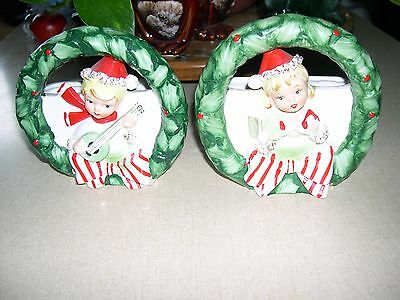 Two Relpo Christmas Boy And Girl Wreath Planter