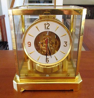 Atmos Jaeger Le Coultre 528-8 1980? Clock S/N 517128 Works Perfect Gold Case HTF