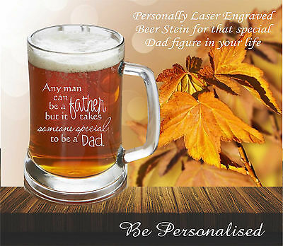 Personalised Fathers Day Gift Beer Mug Stein Engraved Glass for Dad Present
