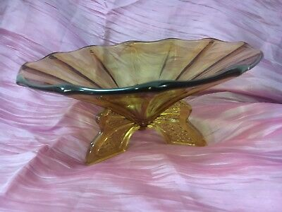 Art Deco Amber Glass Centerpiece