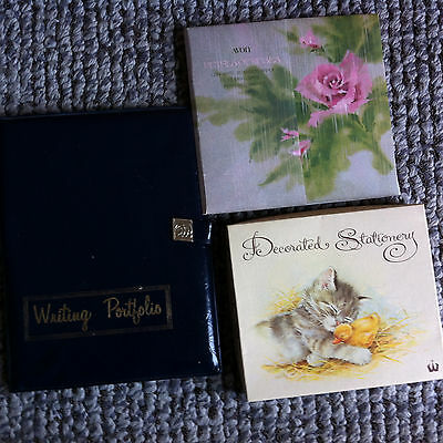 vintage plastic writing portfolio and Avon and decorated stationery writing sets