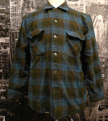 Pendleton Men's Plaid Shirt Green Blue 1970s LG Vintage Loop Collar Pocket