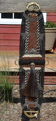 100% Mane Hair Vaquero Style Girth/Cinch with Shu-Fly - Black/Chestnut/Grey  30""