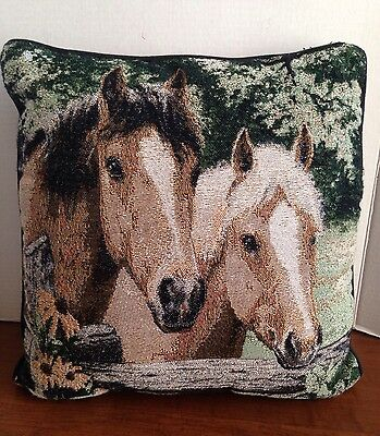 Linda Picken Tapestry Artist Beautiful Horse Faces At Fence Pillow 15 In. Sq.