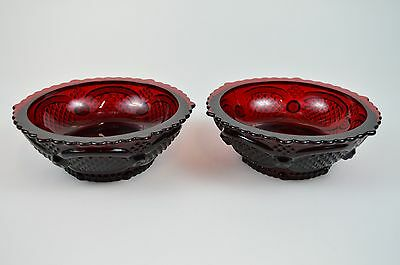 """Lot of 2 Vintage Avon 1876 Ruby Cape Cod Collection Ruby Red Dessert Bowls 5.25"""""""
