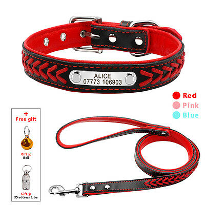 Soft Padded Braided Leather Personalized Dog Collar & Leash Set Free Engrave