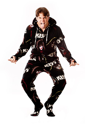 Unisex KISS Rock Gods Black Ultra Soft Polar Fleece Adult Sized Footed Pajamas