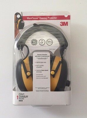 3M WorkTunes Hearing Protector, Ipod & MP3 Compatible with AM/FM (90541) - New