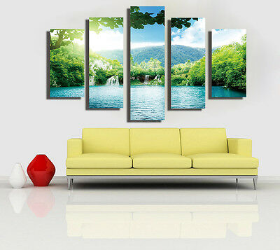 Huge Abstract Wall Decro Art Oil Painting on Canvas NO FRAME Waterfall Scenery