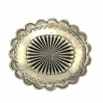 Native American Sterling Silver Hand Stamped Domed Oval Scalloped Belt Buckle