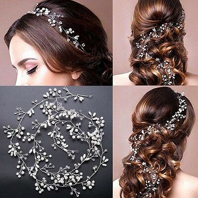 1/1.5M Pearls Diamante Crystal Hair Vine Bridal Wedding Accessories Headpiece AU