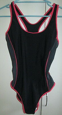Vintage Ladies Target Size 16 One Piece Swimwear Swimmers Racer Back Black Coral