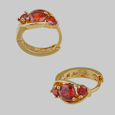 ---10K Yellow Gold Filled GF Ruby Hoop Earrings Earings, 10mm Inside Diam
