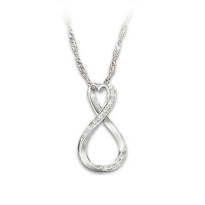 Forever My Daughter Diamond Infinity Pendant In Solid Sterling Silver
