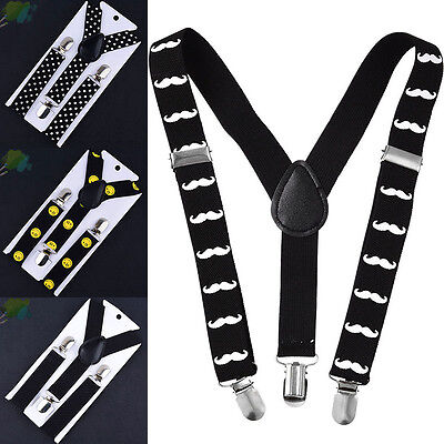 New Boys Girls Kids Child Baby Children Beard Clip on Y-Back Elastic Suspenders