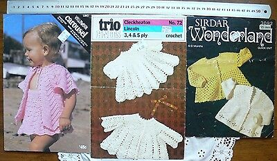 Crochet BABY - 3 Single Pattern Sheets - 3, 4 & 5 Ply Mixed Brands - CrBabyB