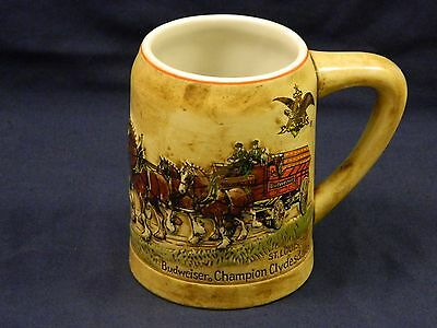 1980 Vintage Budweiser Christmas Holiday Beer Stein Mug made in Brazil Ceramarte