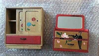 Doll House Wooden Cupboard And Dresser With Mirror