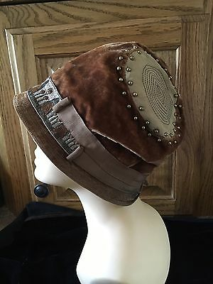 Moprimitivepast Stunning Antique Cloche Hat Ladies Flapper 1920s Rust Velvet