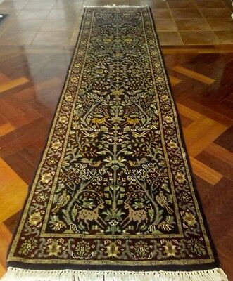 Antique Pictorial Tree of life Hand knotted Persian wool rug carpet rummer