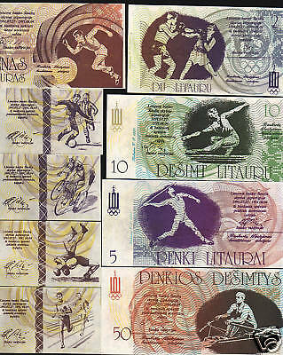 Lithuania 5 10 50 1 2 1991 Football Bike 7 Olympic Currenmcy Money Bill Note