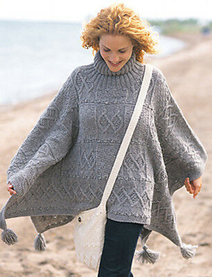 Ladies Knitted Poncho and Bag, Vintage Knitting Pattern, PDF