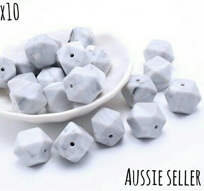 10 marble grey 14mm Hexagon Geo Silicone Beads Necklace Baby Safe Chew Teething