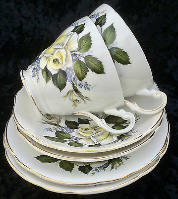 Lot 2x Vintage REGENCY CUP, SAUCER & PLATE TRIOS - WHITE ROSE with YELLOW TINGE