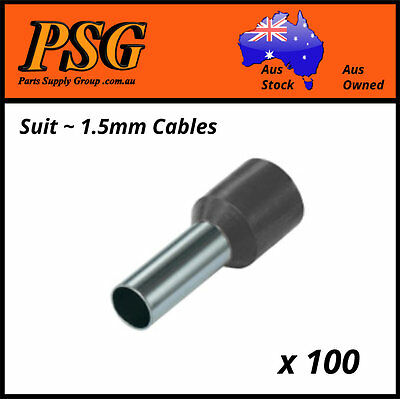 Cable Ferrules 1.5mm2 x 100 pack, Bootlace Ferrules, Pin Crimps, Wire Sleeves