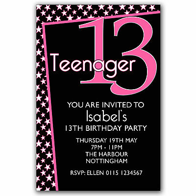 10 personalised boys girls teenager 13th birthday party 10 personalised boys girls teenager 13th birthday party invitations q58 filmwisefo