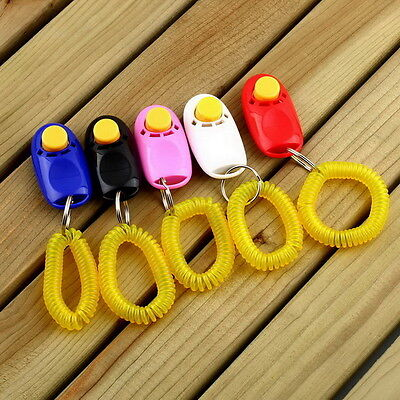 Dog Pet Click Clicker Training Obedience Agility Trainer Aid Wrist Strap LE